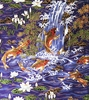 KOI IN FLORAL GARDEN: Purple (1 yard)