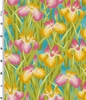 LOTUS IN SPRINGTIME: Irises: Teal/Gold (1/2 Yd.)