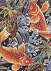 MAJESTIC KOI - Black Asian Japanese Fabric (Per 1/2 Yd)