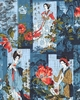 NOBU FUJIYAMA - Crane Dynasty - Screens of Geishas & Landscapes: Blue