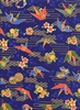 Origami Cranes: Asian Japanese Fabric - Bue/Gold Metallic (1/2 Yd.)