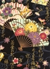 ORNATE JAPANESE FOLDING FANS: Black (1/2 Yd.)