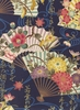 ORNATE JAPANESE FOLDING FANS: Navy/Gold (1/2 Yd.)