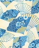 PATTERNED FANS: Blue/Gold (1/2 Yd.)