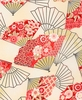 PATTERNED FANS: Red/Gold (1/2 Yd.)