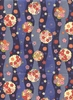 PATTERNED FLOWERS & MEDALLIONS: BLUE COTTON CHIRIMEN (1/2 YD.)