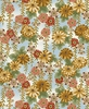 PEACEFUL STREAM: Floral Vines - Blue/Gold (1/2 yd)