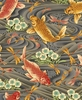 PEACEFUL STREAM: Koi & Dragonflies - Charcoal/Gold (1/2 yd)