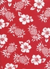 Pineapples & Hibiscus: Red (1/2 Yd.)