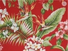 Red Tropical Upholstery Home Dec Barkcloth (BTY)