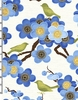 SONGBIRDS & CHERRY BLOSSOMS: Blue (1/2 Yd)