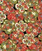 TADASHI COLLECTION: Flower Medallions - Red/Gold (1/2 Yd)