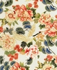 TADASHI COLLECTION: Peonies & Cranes - Cream/Gold (1/2 Yd)