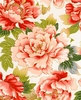 TADASHI COLLECTION: Peonies - White/Gold (1/2 Yd)