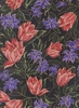 Tulips in Bloom: Black (1/2 Yd.)