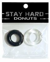 Ignite Thick Power Stretch Donut Cock Ring - Clear/Black  2 Pack