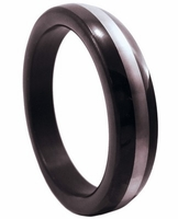 Premium Stainless Steel Cockring - Black w/Chrome Band 1.75""