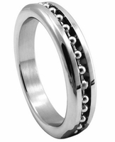 Premium Stainless Steel Cockring - Chrome w/ Ball Chain 1.875""