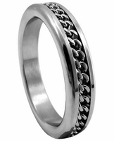 Premium Stainless Steel Cockring - Chrome w/Chain 1.75""