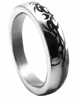 Premium Stainless Steel Cockring - Chrome w/Tribal 1.75""