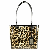 Black Leopard Patent Leather Tote Bag