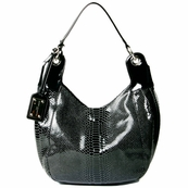 Black Textured Patent Italian Leather Bag