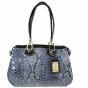 Blue Patent Leather Snake Print Satchel Tote