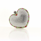 Color Accented Heart Swarovski Crystal Clutch
