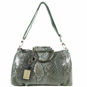 Green Patent Leather Snake Print Satchel