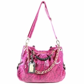 Pink Patent Leather Hobo Messenger Bag