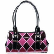 Purple and Black Argyle Patent Italian Leather Bag