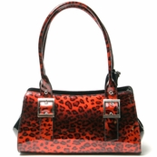 Red Patent Italian Leather Animal Print Bag