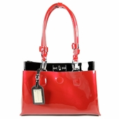 Red Patent Leather Satchel Bag