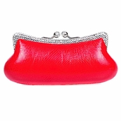Red Snake Print Swarovski Crystal Clutch with Clear Crystals