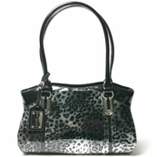 Silver Patent Italian Leather Animal Print Bag