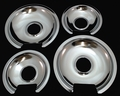Chrome Burner Pans for General Electric, (2) WB32X10012 & (2) WB32X10013, GEDP22GE