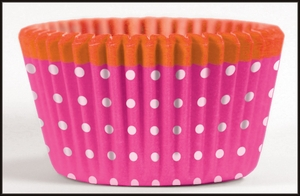 Cupcake Creations, No Muffin Pan Required Baking Cups, Pink Dots w/Orange, 8969
