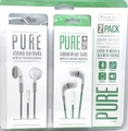 Sentry Pure Series Stereo In-Ear Buds w/ In-Line Mic 2 Pk Green & Gray, HM228PKG