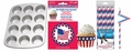 Stars & Stripes Party Pack, Muffin Pan, Baking Cups, Fashion Straws & Name Flags