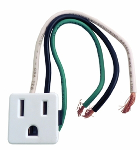 Universal Three Wire Appliance Outlet, Snap-In, GA28