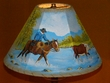 "14"" Painted Leather Lamp Shade - Cowboy"