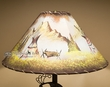 "20"" Painted Leather Lamp Shade -Indian Village"