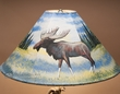 "20"" Painted Pigskin Lamp Shade -Moose"