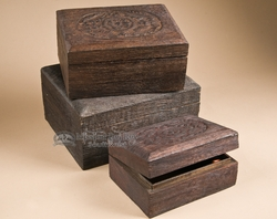 3 Pc. Set of Carved Wooden Nest of Boxes     (wb1)