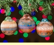 3 Piece Navajo Indian Pottery Christmas Ornament Set  (o16)