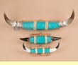 "3 Set - Painted Steer Horns 29"" -Turquoise  (psh3)"