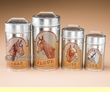 4 pc. Old West Tin Canister Set -Horses  (c24)