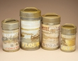 4 pc. Rustic Tin Canister Set -Mountain Lodge  (c22)
