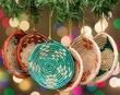 6 pc. Navajo Style Palm Basket Christmas Ornaments  (co5)