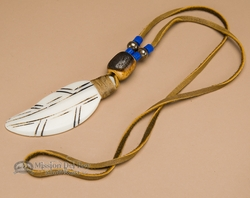 Native American Indian Bone Feather Necklace -Blue  (55)